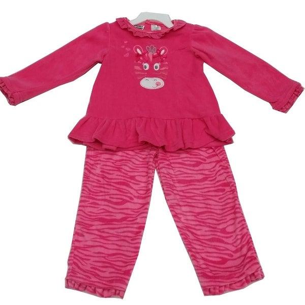 Peanut Buttons Baby Girls Fuchsia Animal Print Ruffle 2 Pc Pant Set 12-24M