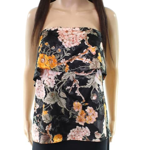 WAYF NEW Black Women's Size Small S Floral Popover Strapless Blouse