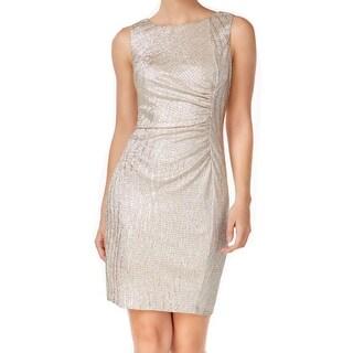 Calvin Klein NEW Gold Womens Size 12 Metallic Ruched Sheath Dress
