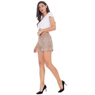 Summer Shorts for Women, Slim Scallop Hem Stretch Waist Double-Layer Lounge M... - Small