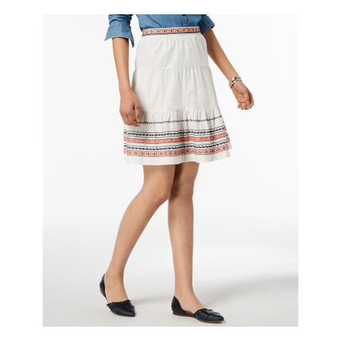 TOMMY HILFIGER Womens White Knee Length A-Line Skirt Size 12