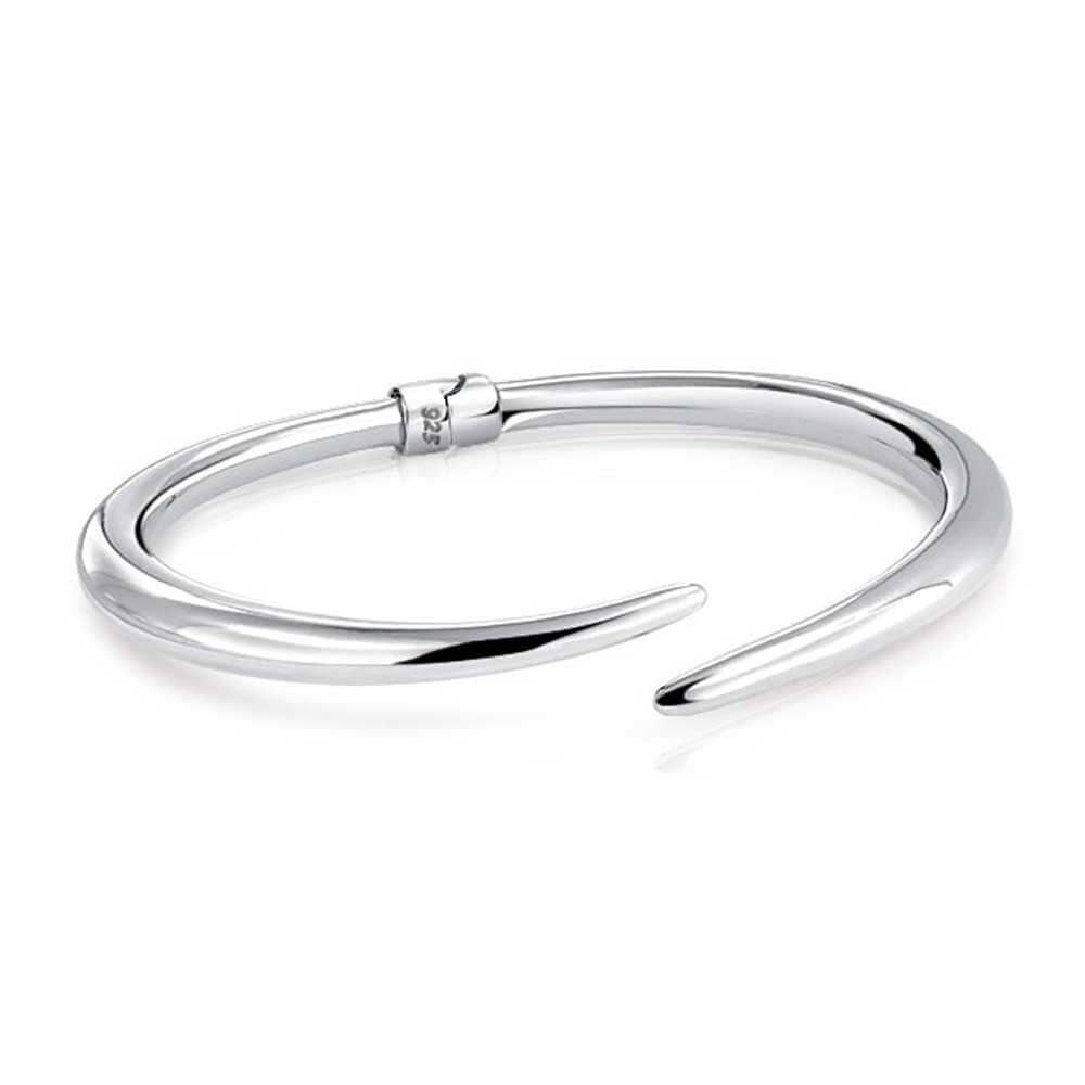 925 Sterling Silver Rhodium-plated Polished Bypass Slip-on Hinged Bangle Bracelet