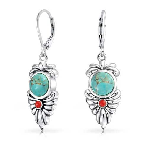 Native Style Blue Turquoise Carnelian Leaf Earrings Sterling Silver