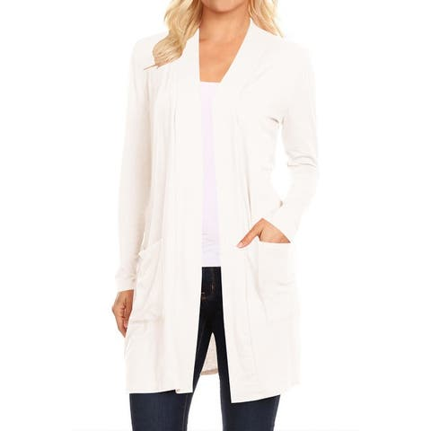Women's Casual Open Front Solid Cardigan Jacket