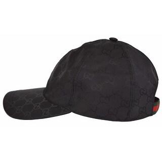 Gucci Men's 387578 Black Nylon GG Guccissima Web Stripe Baseball Cap Hat XL