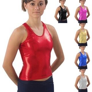Pizzazz Girls Metallic Racer-Back Dance Cheer Tank Top Shirt 2T-16