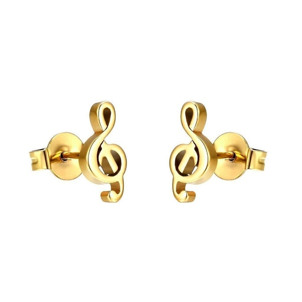 Treble Clef Musical Note Earrings Stainless Steel Studs Yellow Gold Tone