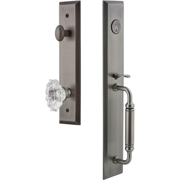 "Grandeur FAVCGRBIA_ESET_234 Fifth Avenue Solid Brass Rose Keyed Entry Single Cylinder ""C"" Grip Handleset with Biarritz Crystal"