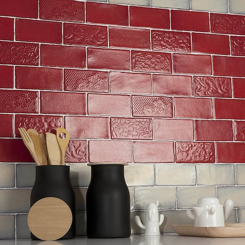 SomerTile 3x6-inch Antiguo Special Red Moon Ceramic Wall Tile