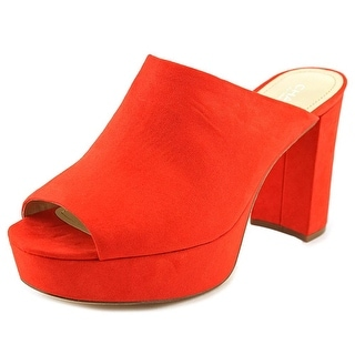 Charles By Charles David Miley Women Open Toe Suede Red Slides Sandal