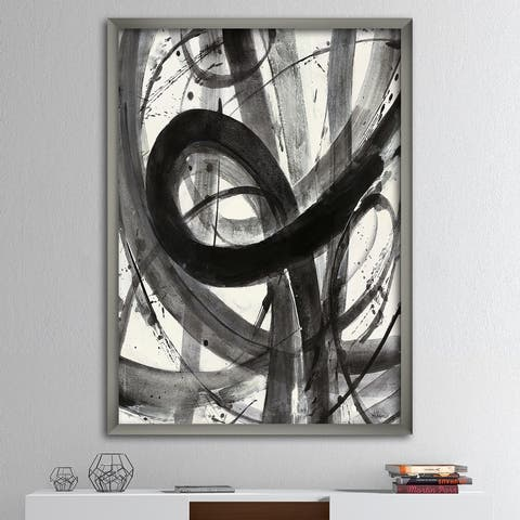 Designart 'Black and White Minimalistic Painting' Modern & Transitional Premium Framed Art Print
