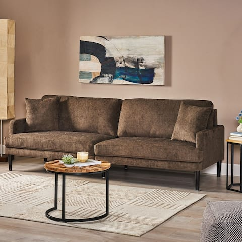 """Malverne Contemporary 3 Seater Fabric Sofa with Accent Pillows by Christopher Knight Home - 96.25"""" W x 35.00"""" D x 34.50"""" H"""