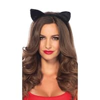 Velvet Black Cat Ears, Cat Ear Headband - One Size Fits most