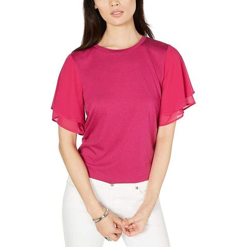 Michael Kors Women's Shirt Purple Small S Mixed Media Flutter Blouse