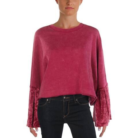 Free People Womens Crop Sweater Velvet Bell Sleeves