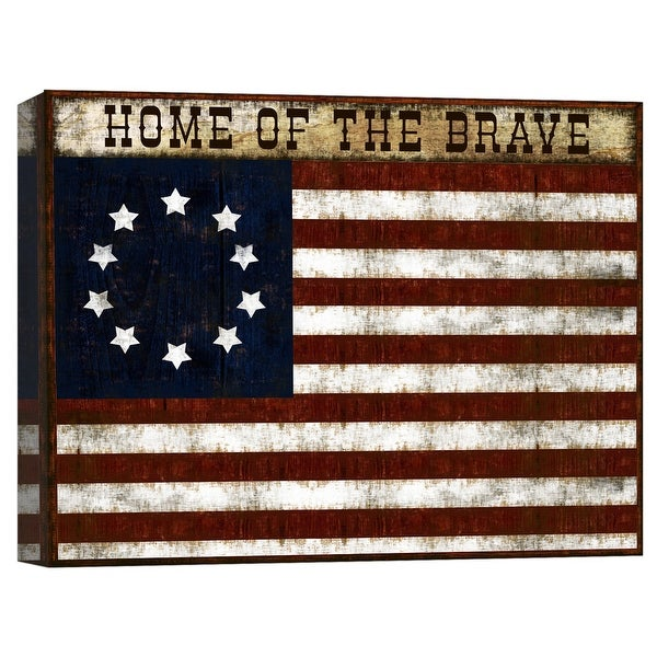 "PTM Images 9-124796 PTM Canvas Collection 8"" x 10"" - ""Home of the Brave"" Giclee American Flag Art Print on Canvas"