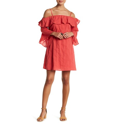 Jessica Simpson Red Womens Size Large L Hanna Ruffle A-Line Dress