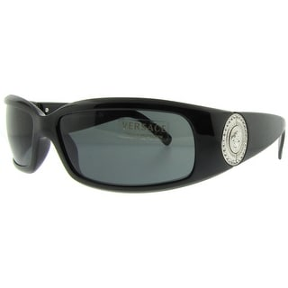 VERSACE Wrap VE 4044B Men's GB1/87 Shiny Black Grey Gradient Sunglasses - 60mm-15mm-120mm