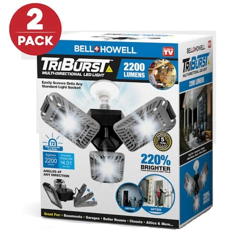 Bell and Howell Triburst 2pk-Multi-Directional Triple Panel Light for Indoor and Outdoor - 2pk