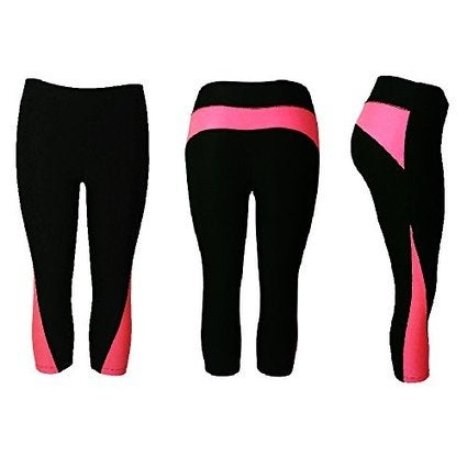 Women's Athletic Fitness Sports Yoga Pants Capri Small-Medium/Black-Pink