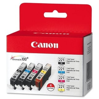 Canon 2946B004 (CLI-221) Ink, 4/Pack, Tri-Color