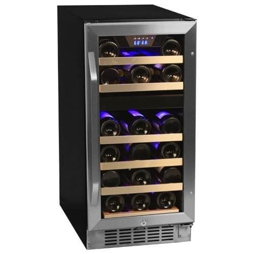 EdgeStar CWR262DZ 15 Inch Wide 26 Bottle Built-In Wine Cooler with Dual Cooling Zones
