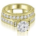 1.65 cttw. 14K Yellow Gold Antique Round Cut Diamond Bridal Set - Thumbnail 0