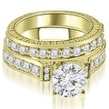 2.15 cttw. 14K Yellow Gold Antique Round Cut Diamond Bridal Set - Thumbnail 0