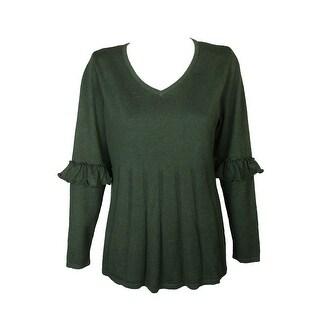 Style Co Plus Size Olive Green Ruffled-Sleeve Pleat V-Neck Long Sleeve Sweater 3X