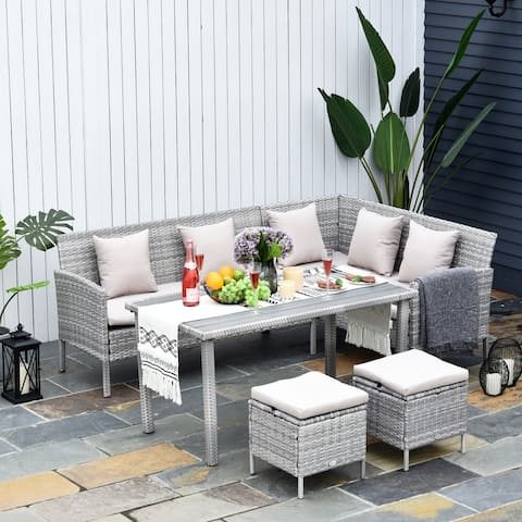 Outsunny 5-Piece Modern Outdoor Wicker Patio Furniture Sets with PE Rattan Resistant to Weather & Quality Build