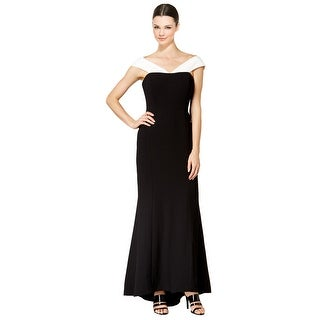 Calvin Klein Two-Tone Crepe Off Shoulder Evening Gown Dress