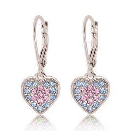 Kids Earrings - 925 Sterling Silver With a White Gold Tone Pink and Blue Colored