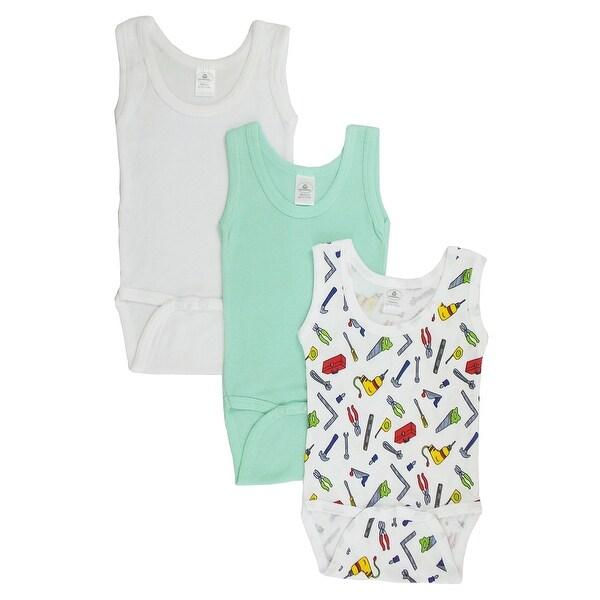Baby Boy's White, Printed Rib Knit Pastel Sleeveless Tank Top Onesie 3-Pack
