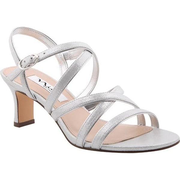 b23101088501e8 Nina Women  x27 s Genaya Strappy Sandal Silver Reflect Suedette Metallic  Foil