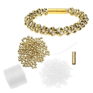 Refill - Deluxe Spiral Beaded Kumihimo Bracelet - White and Gold - Exclusive Beadaholique Jewelry Kit