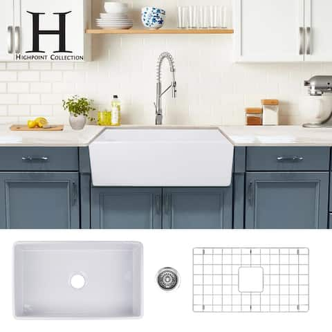 Highpoint Collection 30-inch Fireclay Farmsink with Grid and Drain - 30.25 x 18 x 10 inches - 30.25 x 18 x 10 inches