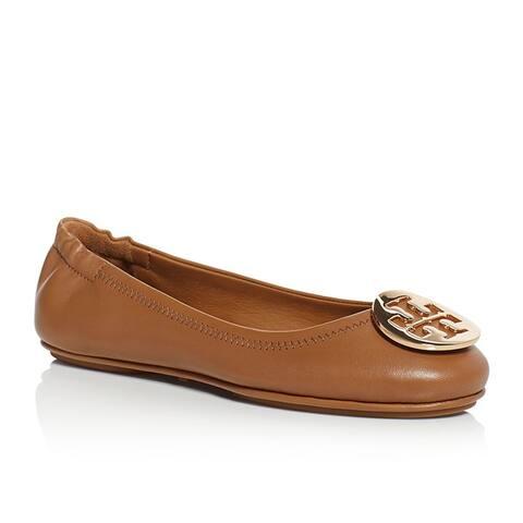 Tory Burch Minnie Travel Ballet Logo Shoes Royal Tan Gold Brown Flats Ballerina