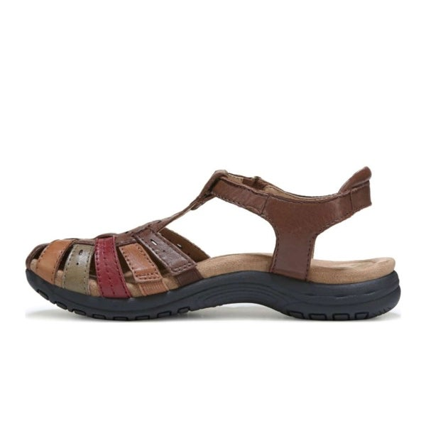Earth Womens Saffron Leather Closed Toe Casual Strappy Sandals, Brown, Size 8.5