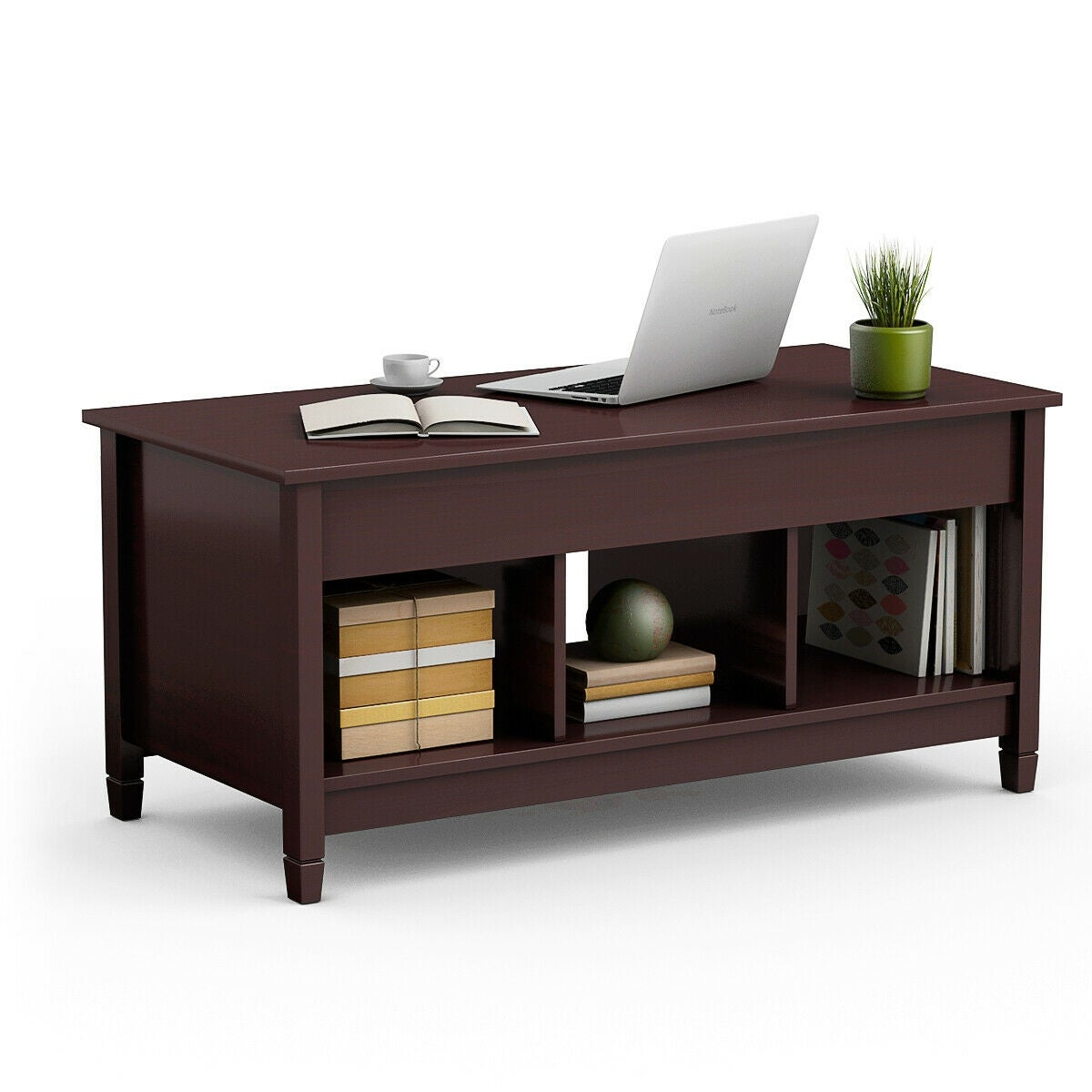 Costway Lift Top Coffee Table W Hidden Compartment And Storage Shelves Modern Furniture As Pic