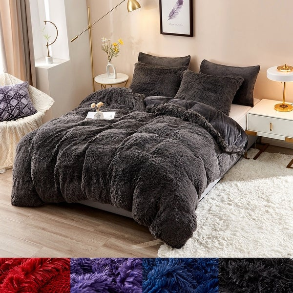 3/5 Piece Shaggy Duvet Cover Set (No Insert). Opens flyout.