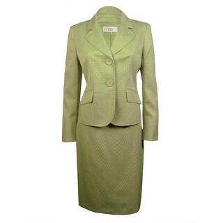 Le Suit Women's Blue Grotto Patterned Skirt Suit - Celery