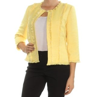 KASPER Womens Yellow Frayed 3/4 Sleeve Open Cardigan Top Petites Size: 8