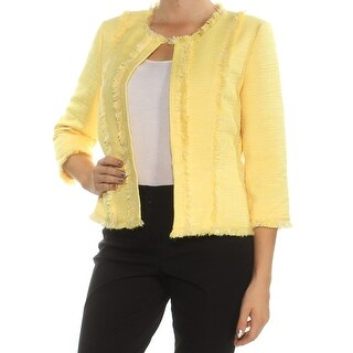 Womens Yellow 3/4 Sleeve Open Cardigan Top Size 8