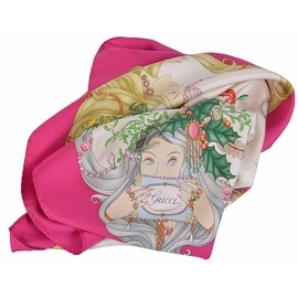 New Gucci 341483 Pink Stunning Four Seasons Silk Twill Square Neck Scarf