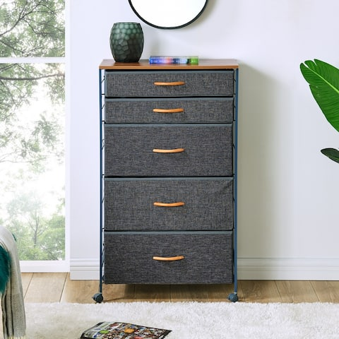 Danya B. Fabric 5-Drawer Storage Dresser Chest wit