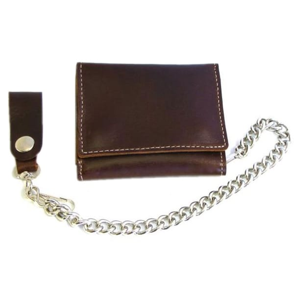 "Biker Men's Premium Large Tri-Fold Leather Wallet with Chain, Brown CP315 - 4.5"" x 3.5"""