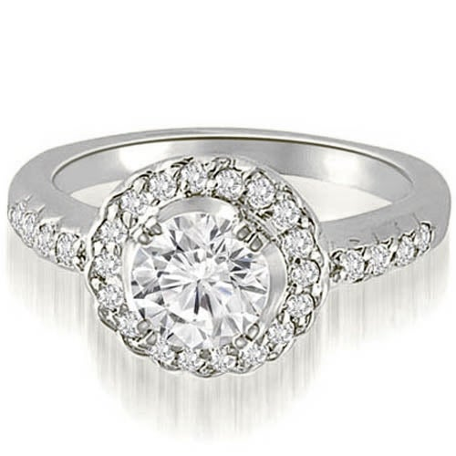 0.75 cttw. 14K White Gold Halo Round Cut Diamond Engagement Ring