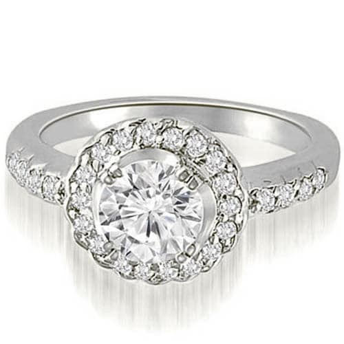 1.25 cttw. 14K White Gold Halo Round Cut Diamond Engagement Ring