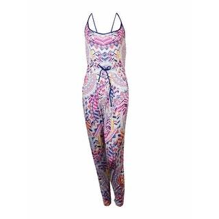Link to Bar III Women's Multi Print Jersey Jumpsuit Swim Cover - Indigo Similar Items in Swimwear