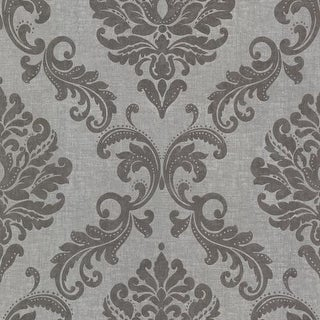 Brewster 450-67362 Sebastion Grey Damask Wallpaper